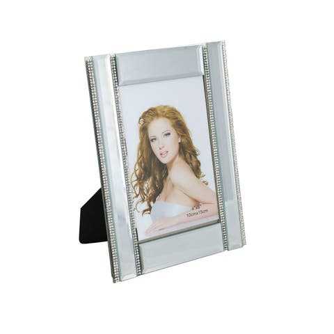 """Standing Rectangular Mirror Picture Frame With Four Thin Vertical Crystal Strands, 4"""" x 6"""" Frame With Felt Backing"""