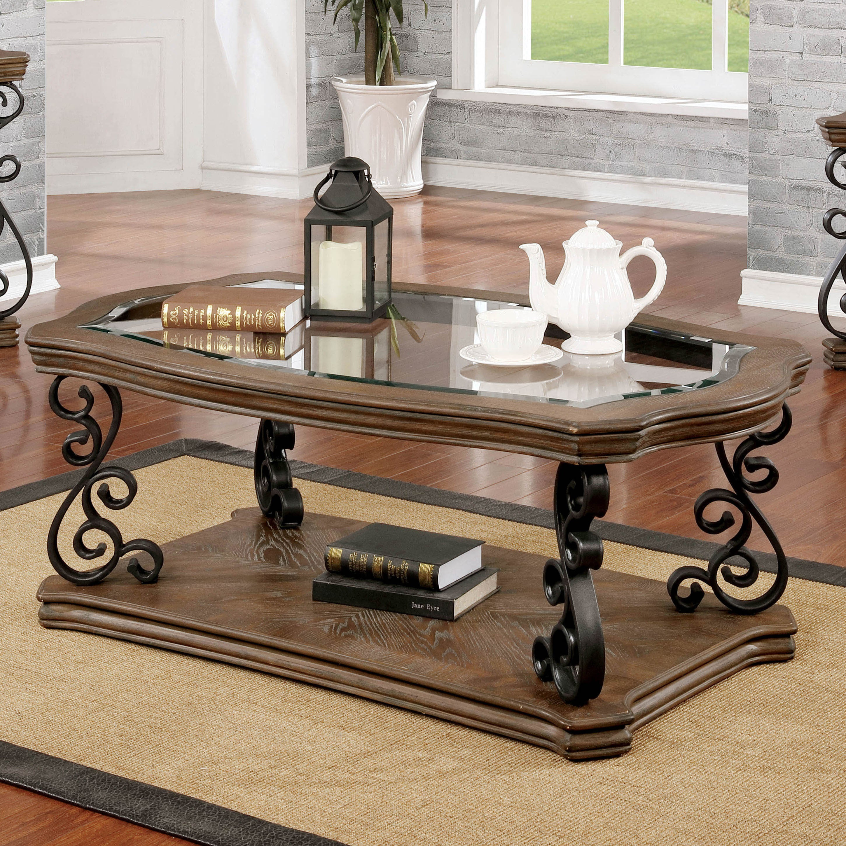 Furniture Of America Dist Traditional Brown Solid Wood Coffee Table