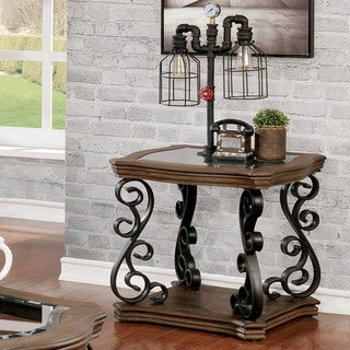 Furniture of America Dist Traditional Brown Solid Wood End Table