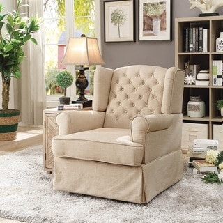 Furniture of America Lier Farmhouse Fabric Glider Rocker Chair