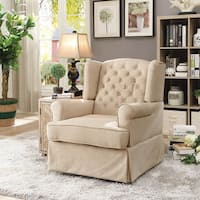 Furniture of America Poppie Tufted Linen Swivel Glider Rocker