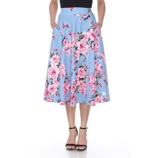 White Mark Women's Floral Flared Midi Skirt with pockets