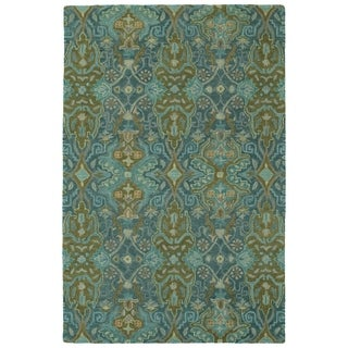 """Hand-Tufted Tannica Peacock Wool Rug - 5' x 7'9"""""""