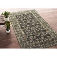 Bombay Home Zion Charcoal Wool Handmade Area Rug - 5'6 x 8'6