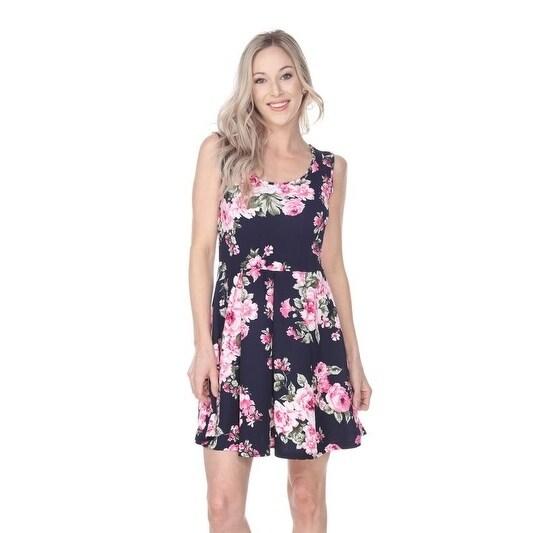 White Mark Womens Flower Print Crystal Dress