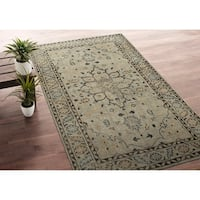 Hand-Knotted Zion Pewter Green Wool Rug - 3' x 5'