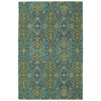 Hand-Tufted Tannica Peacock Wool Rug - 4' x 6'