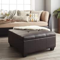 Clay Alder Home Malad 36-inch Square Hinged Storage Bench/ Ottoman