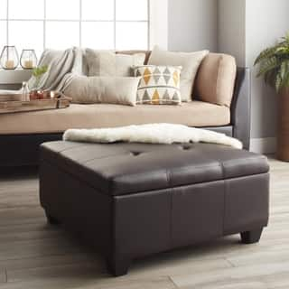 Clay Alder Home Malad 36 Inch Square Hinged Storage Bench Ottoman