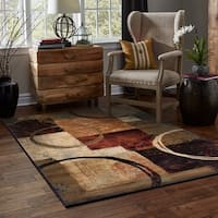 Copper Grove WakawBlocks and Rings Brown/ Black Area Rug - 7'8 x 10'10