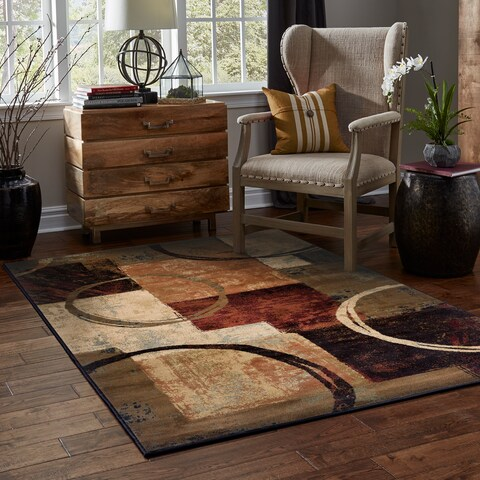 Clay Alder Home Percha Blocks and Rings Brown/ Black Area Rug - 10' x 13'