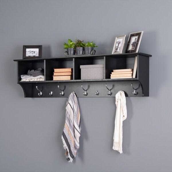 "Porch & Den Hewitt Black 60 inch Wide Hanging Entryway Shelf - 60""W x 16.5""H x 11.5""D"