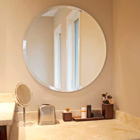 Copper Grove Belladonna Frameless Beveled Round Mirror - 28 x 28