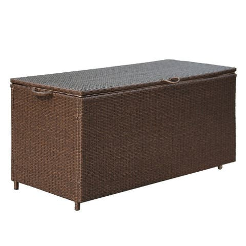 Cheticamp Brown PE Wicker Outdoor Storage Bin Deck Box Patio Cushion Container by Havenside Home