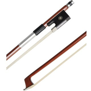 ADM 4/4 Full SizeBrazilwood Violin Bow-Wood Stick, Horsehair, Ebony Frog with Pearl Eye and Pearl Slide, Nickel Silver Mounted