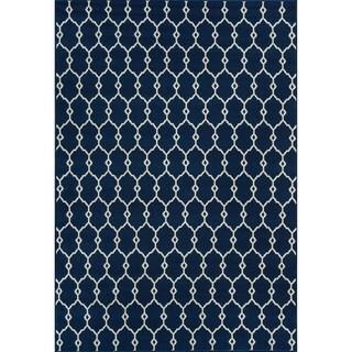 Indoor/Outdoor Navy Trellis Rug (5'3 x 7'6)