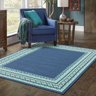 The Curated Nomad Wilson Borders Navy/ Green Indoor-Outdoor Area Rug