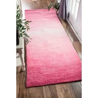 Clay Alder Home Hillsboro Handmade Modern Solid Ombre Pink Runner Rug - 2'6 x 8'