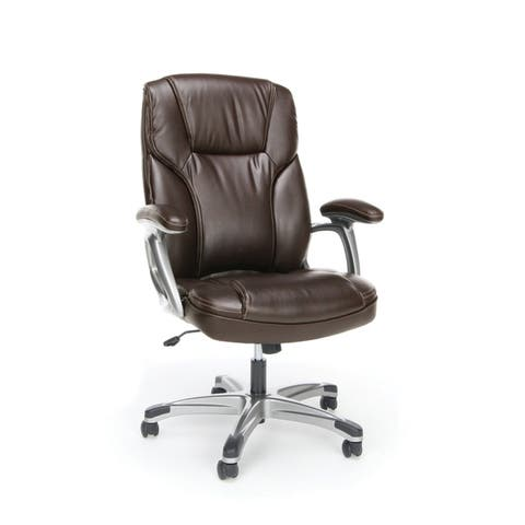 Essentials by OFM ESS-6030 High-Back Bonded Leather Executive Chair with Fixed Arms