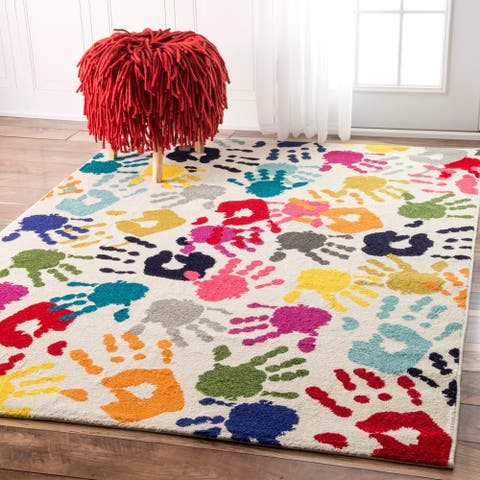 Taylor & Olive Lurleen Contemporary Handprint Collage Multicolor Area Rug