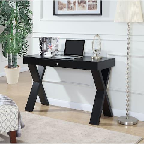 Porch & Den Logan Espresso/ White Wood Desk with Drawer