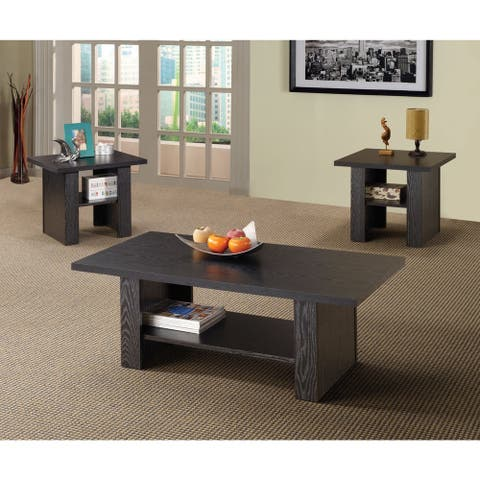 Porch & Den Lincoln Hwy 3-piece Black Oak End and Coffee Table Set