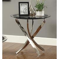 "Strick & Bolton Mikeshin Chrome Glass End Table - 23.50"" x 23.50"""