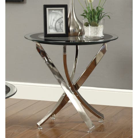 Strick & Bolton Mikeshin Chrome Glass End Table