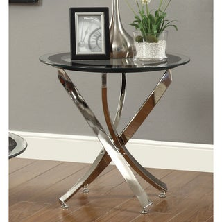 Link to Strick & Bolton Mikeshin Chrome Glass End Table Similar Items in Living Room Furniture