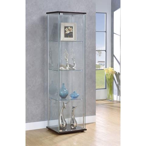 Porch & Den Lincoln Hwy Glass Cappuccino 4-shelf Curio Cabinet