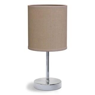 Porch & Den Roseman Chromed Iron 40-watt 1-light Drum Shade Mini Table Lamp
