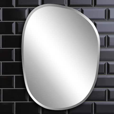 Silver Orchid Grey Asymmetrical Frameless Mirror - 18 x 24