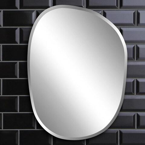 Silver Orchid Grey Asymmetrical Frameless Mirror