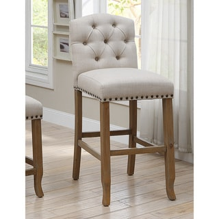 Link to Furniture of America Hail Rustic Fabric Tufted Bar Chairs (Set of 2) Similar Items in Dining Room & Bar Furniture