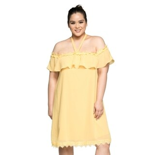 Xehar Womens Plus Size Casual Off Shoulder Halter Tie Summer Dress