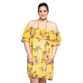 Xehar Womens Plus Size Off Shoulder Floral Midi Short Summer Dress