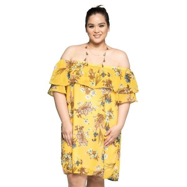 Shop Xehar Womens Plus Size Off Shoulder Floral Midi Short ...
