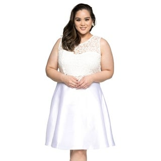 Xehar Womens Plus Size Sleeveless Lace Top Evening Party Short Dress (3 options available)