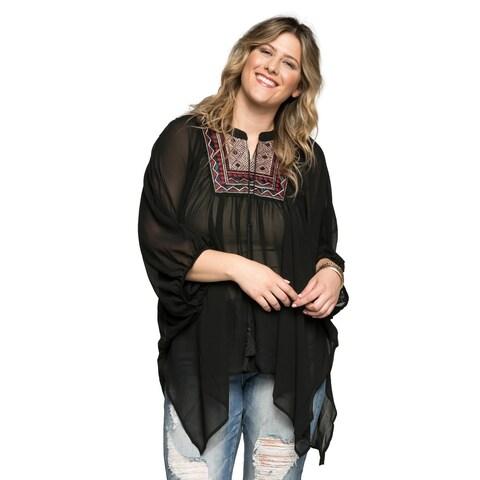 Xehar Women's Plus Size Yoke Poncho Chiffon Boho Blouse Top