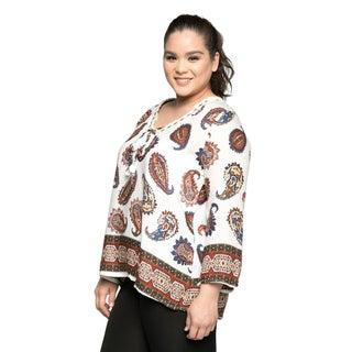 Xehar Women's Plus Size Casual V-Neck Paisley Printed Boho Blouse Top