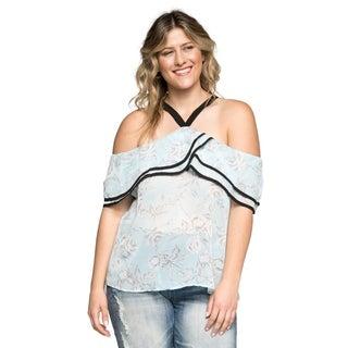 Xehar Women's Plus Size Sexy Floral Halter Ruffle Blouse Top