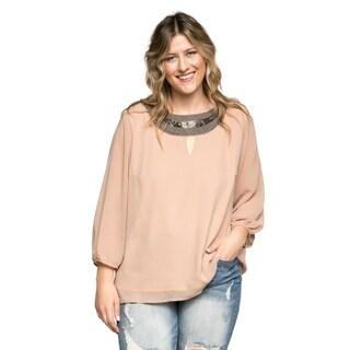 Xehar Women's Plus Size Casual Keyhole Beaded Blouse Top