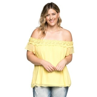 Xehar Women's Plus Size Sexy Off Shoulder Chiffon Blouse Top