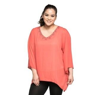 Xehar Women's Plus Size Casual V-Neck Asymmetrical Beaded Blouse Top