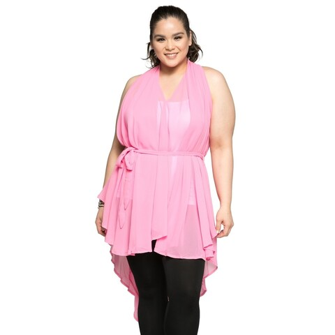 Xehar Women's Plus Size Sexy Sleeveless Belted Tunic Blouse Top