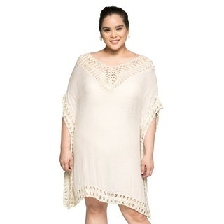 Xehar Women's Plus Size Casual Loose Boho Crochet Tunic Blouse Top