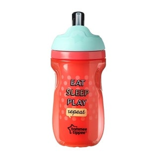 Tommee Tippee Insulated Straw Tumbler - 9 Ounce - Red - Eat Sleep Play Repeat