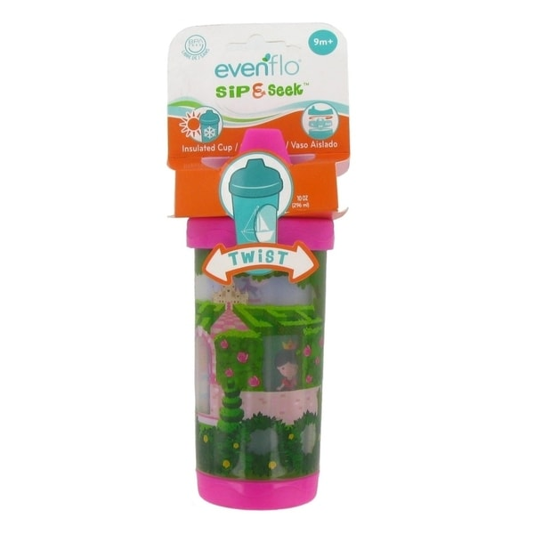Evenflo Sip and Seek Insulated Sippy Cup - 10 Ounce - Pink - Alice in wonderland