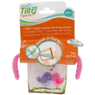 Evenflo Tilty Triple Flo Trainer Cup - 7 Ounce - 1 Pack - Birds Pink-Clear - Pink