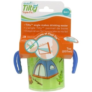 Evenflo Tilty Triple Flo Trainer Cup - 7 Ounce - 1 Pack - Tent Blue Green